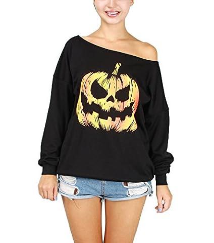 Hqclothingbox Women Halloween Costume Off Shoulder Tops Casual Pullover Slouchy Sweatshirt