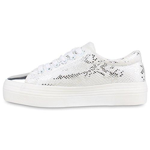 Damen Plateau Sneaker | Prints Metallic | Plateauschuhe 90s Look | Sneakers Stoffschuhe | Schnürer | Prints Blumen Lack Glitzer Silber Metallic