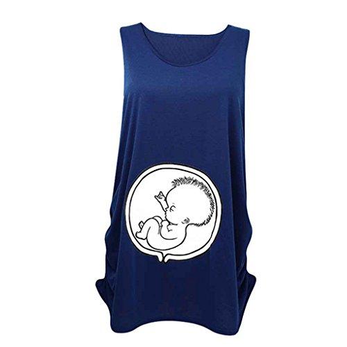Arichtop Frauen-Sleeveless Weiche Nette Säuglingsschwangerschaft-Mutterschaftskleidung-Lustige Schwangere T-Shirt T-Oberseiten (T-stücke Mutterschaft Lustig)