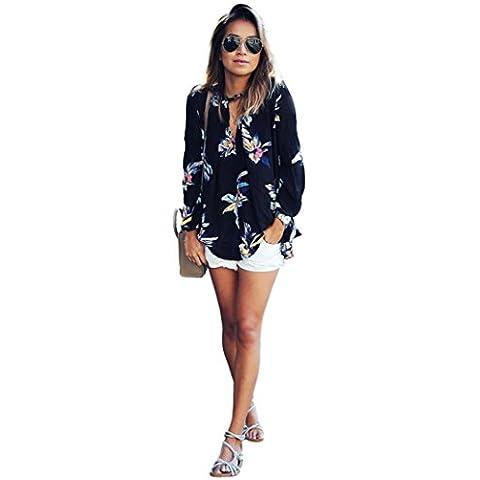 FEITONG Impresión floral para mujer Flojas de la gasa de la manga de la camiseta larga de la blusa de las