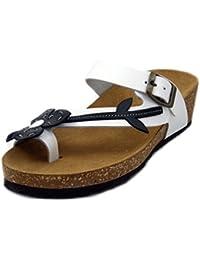 Longra Donne Pelle Microfibra Bohemia Flats Sandal (EU Size:39, Bianca)