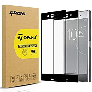 Topnow [2 Packs] Sony Xperia XZ Premium Screen Protector, 2.5D Full Coverage 9H Hardness Tempered Glass Screen Protector Film for XZ Premium - Black