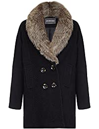 Anastasia Black Women's Fur Collar Winter Coat