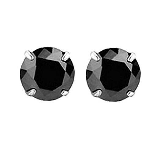 Weiß Birke 925Sterling Silber Ohrstecker für Damen und Herren Simulierte Diamant Swarovski Element 3mm schwarz Tiny (Große Diamant-ohrringe Für Männer)
