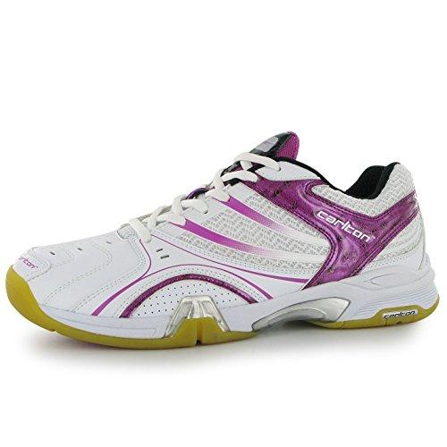 Carlton Carlton Airblade Lite Damen Badminton Schnuer Sport Schuhe Turnschuhe Sneaker White/Pink 4 (37)