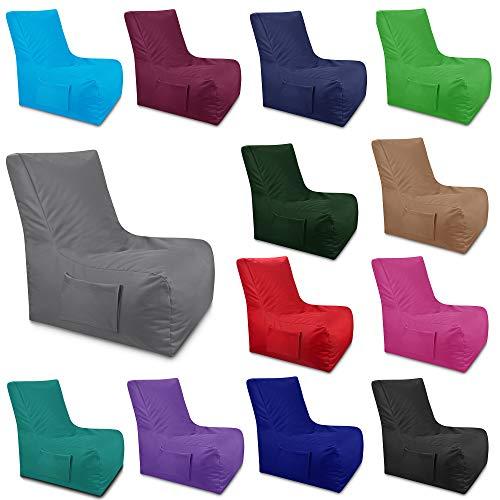 GiantBag Sitzsack Lounge Sitzsäcke Beanbag Sitzkissen Indoor & Outdoor Tobekissen Bodenkissen Sessel mit Seiten Tasche (Anthrazit, XXXL)