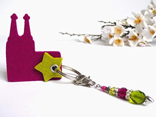 Kölner Dom Anhänger mit Perlen magenta hellgrün Geschenk