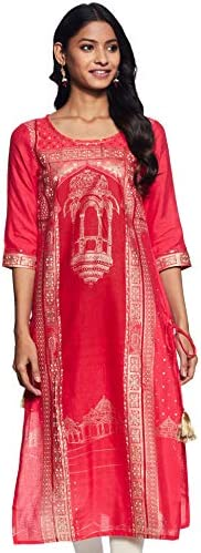 Aurelia Women's Rayon Straight Kurta (19AUA11010-500739_ Red_ Med