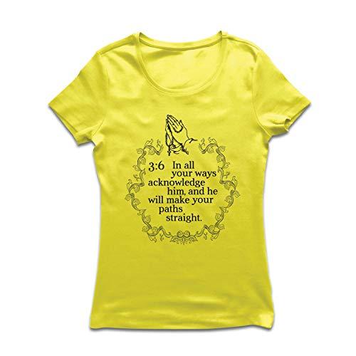 lepni.me Frauen T-Shirt In Allen Ihren Weisen anerkennen Sie ihn Christian Sprichwörter 3: 6 (X-Large Gelb Mehrfarben) - X-large Adult Christian T-shirt
