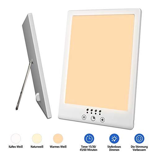 Tageslichtlampe 10000 Lux LED Lichttherapielampe 3000-6500K Farbtemperatur, Simuliert Tageslichtlampen UV-frei Gradientenhelligkeit, Lichtdusche mit Timer-Funktion und Touch-Steuerung