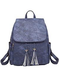 d15f0459648f0 YuanDian Damen Leder Rucksack Weich Casual Quaste Schultertasche Frauen  Mädchen Schultaschen PU Reisen Rucksäcke Handtaschen Backpack