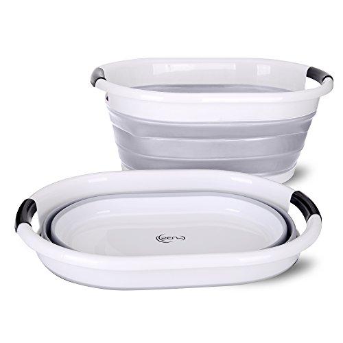 yoouu Premium - Wäschekorb, Faltbar und Wasserdicht | XXL mit 76 L Volumen | Maße (LxBxH) 62,5 x 45,0 x 27,0 cm (H: 6,5 cm Gefaltet) | Wäschebox (Grau)