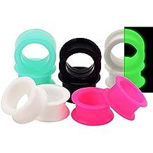 """D&M Jewelry 10 Piezas de Silicona Espesa Flexible Expansor de Túnel de 5 Colores 8g-1"""" Ear Plug Pendientes de Oreja Piercing para las Orejas"""