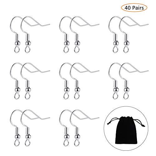 Bolonbi - 40 pares de ganchos de plata de ley 925 para pendientes, anzuelos, pendientes de gancho con bola de alambre francés con bolsa de joyería para bricolaje