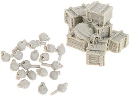 SM SunniMix Set Mini Crâne et Boîtes Sacs à Munitions Sculpture en Résine Accessoires de Scénario Soldat | Approvisionnement Suffisant