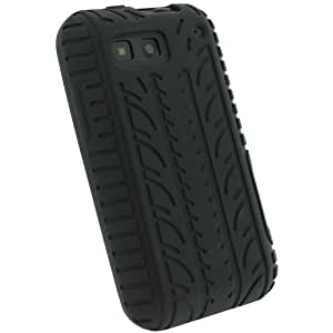 igadgitz Noir Pneu Étui Housse Silicone pour Motorola Defy MB525 Android Smartphone + Protecteur d'écran