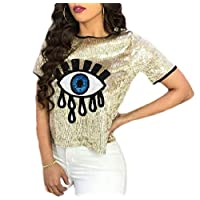 KLJR Women Eye Printed Sequins Crew Neck Short Sleeve T Shirt Blouse Tops Golden US XS