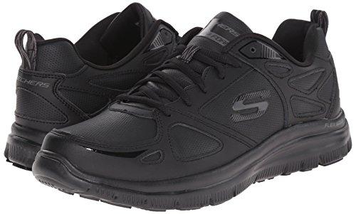 Scarpe Skechers Sport per uomo in pelle e sintetico nero con memory foam Nero