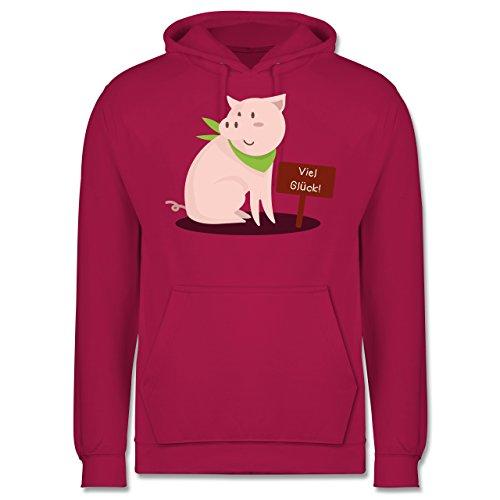 Sonstige Tiere - Glücksschweinchen - Männer Premium Kapuzenpullover / Hoodie Fuchsia