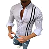 Vovotrade Camicia a Righe Uomo Moda Manica Lunga Regular Fit Shirt con Bottoni Uomo Collo Coreano Casual Camicie Tops per Primavera e Autunno
