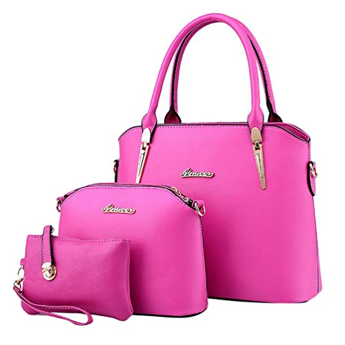 Baymate Elegante da Donna Retro Handbag Shoulder Bag Tote Bag 3 Pezzi Rose