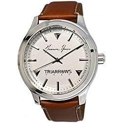 Triarrows Classic Herren-Armbanduhr 45mm Armband Leder Braun Gehäuse Edelstahl Quarz Analog TPT02
