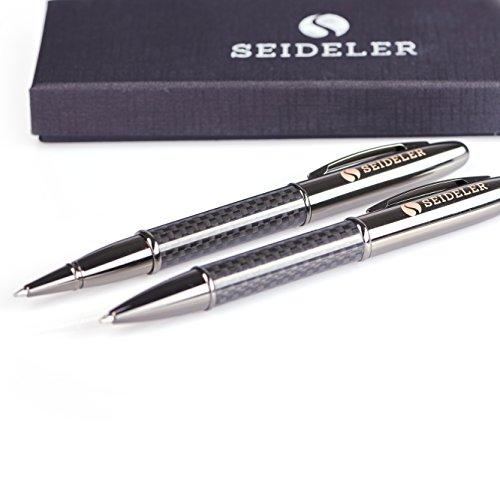 SEIDELER edles Schreibset bestehend aus Carbon Kugelschreiber und Tintenroller mit blauer Schriftfarbe
