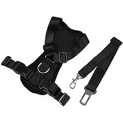 Chaleco de arnes de coche de mascota - TOOGOO(R)Chaleco de correa de seguridad de arnes de Gato Perro mascota con Clip de plomo de cinturon de asiento de coche, tamano libre, Negro