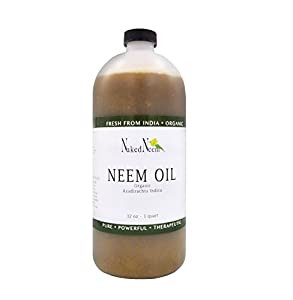 Naked Neem Organic Oil (32 oz) 100% Pure Cold Press, Unrefined - 6 Sizes,