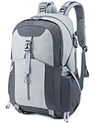 Casual Backpack, Water Resistant Slim Lightweight Laptop Rucksack For Men/Women, Large Travel/Hiking/Cycling Daypacks With Earphone Hole, College/High School Bags For Boys/Girls-32L, Grey