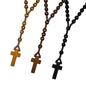 SoulCats® Rosenkranz aus Holz in drei versch. Farben braun schwarz Holzperlen Kette Kreuz