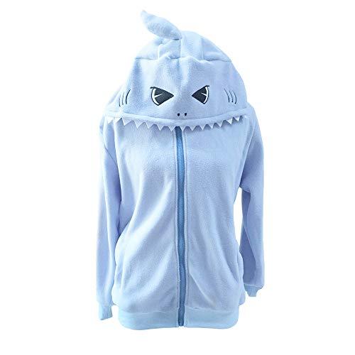 dressfan Animal Blue Shark - Erwachsener Pullover Mit Kapuze Hoodie Langarm-Rollkragenpullover-Sweatshirt mit Reißverschluss und Tasche (Hai Kostüm Frauen)