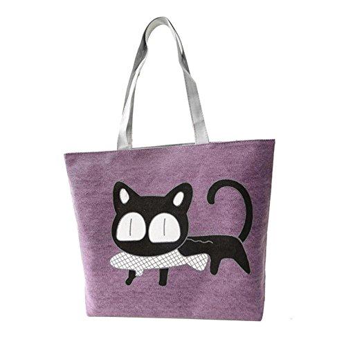 Internet Femmes Chat noir Sac à main de Toile sac à bandoulière Cartoon Modèle 37x9x30CM (Violet)