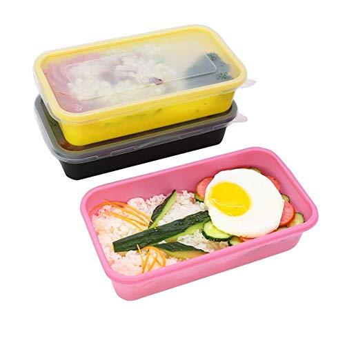 ACZZ Xiao-Bowl3 Einweg-Brotdose Bento-Boxen Mikrowellengeschirr Vorratsbehälter für Lebensmittel 100 Packungen,Schwarz