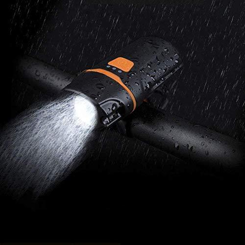 Faro per bicicletta Ricarica USB Torcia per equitazione Impermeabile da esterno Super Bright Torcia 4 modalità Zoom Dimming Lampada per bici portatile-Nero leggero