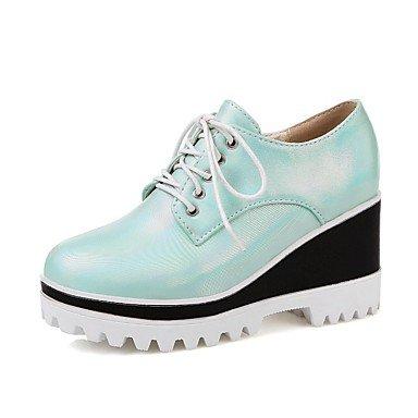 Zormey Frauen Schuhe Pu Keilabsatz Wedges/Komfort/Round Toe Heels Outdoor/B¨¹ro & Amp Karriere / Kleid Blau/Mandel US6 / EU36 / UK4 / CN36