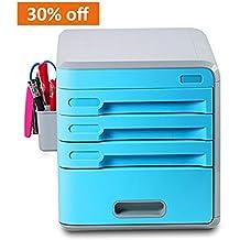 Cajonera plástica EVERTOP. Organizador para tu escritorio. Se puede cerrar con llave. Archivador A4. Cian