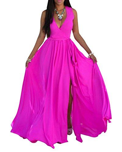 Donna retro sciolto senza maniche v collare lungo vestito abito da spiaggia rose xl