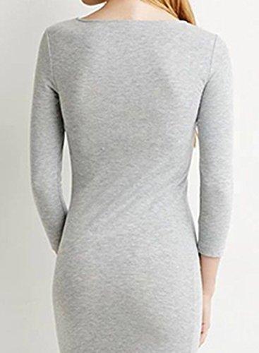 ACHICGIRL Women's Simple 3/4 Sleeve Bodycon Midi Dress Navy