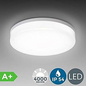 LED Deckenleuchte, Spritzwasser geschützt, IP54 inkl. 13W 1600lm LED Platine, 4000K neutral weiss, 22cm Durchmesser, Badezimmer geeignet