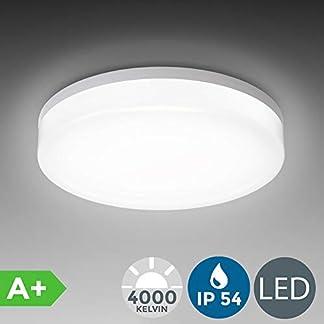 Plafoniera LED, lampadario bagno a luce bianca naturale 4000K, LED integrati 13W, 1600 Lm, lampada da soffitto resistente agli schizzi d'acqua IP54, plafoniera moderna diametro 22cm, plastica, 230V