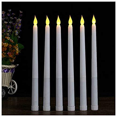 lacgo (Pack de 6) 11inch LED sin llama taper vela para la cena, parpadeo sin llama velas, funciona con pilas LED mesa table Settings bodas cumpleaños