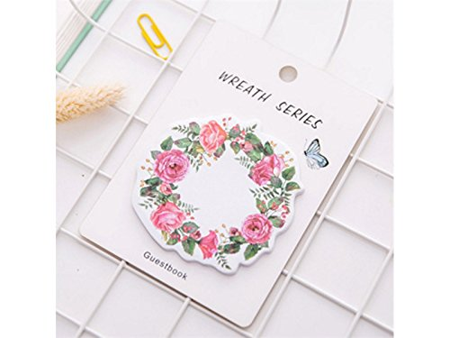 OVVO Simple Note collante de guirlande pour le message Note Flower Pattern Notebook (Rosy) OVVO