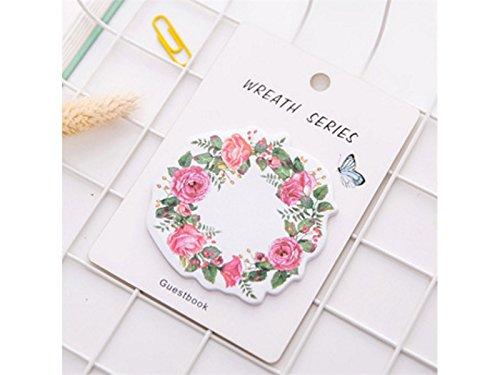 Studentenbedarf Kranz Haftnotiz für Nachricht Note Blumenmuster Notebook (Rosy) Büro Produkt