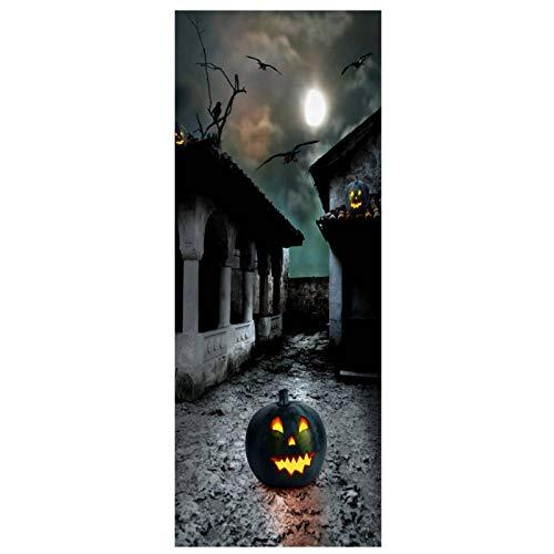 3D Tür Aufkleber Wandaufkleber Wandbild Fotos Bad Schlafzimmer Büroraum Kreative Selbstklebende Dekoration 77X200 Cm (Halloween Village)