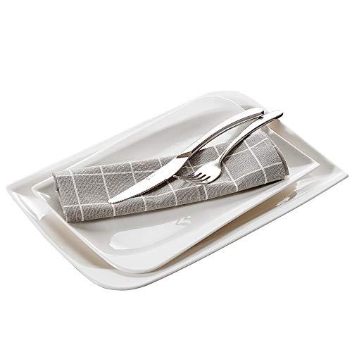 Vancasso Cloris 2-teilig Servierplatte aus Porzellan, Weiße Platte, Rechteckiger Teller für Tafelservice