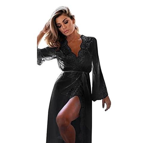 YunYoud Damen Schlafanzug Reizvoller Spitze Perspektive Unterwäsche Puppe Nachtwäsche Lange Ärmel V-Ausschnitt Bademäntel Verlockend Mantel Pyjama (S, Schwarz)