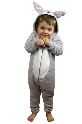 Kinder Jungen Mädchen Strampelanzug Schlafoveralls Tier Overall flauschig Fleece Jumpsuits Mops Teddybär Affe Dalmatiner Schaf Gorilla - Alter 2-13 Jahre, 6-7 Weiches Graues Kaninchen