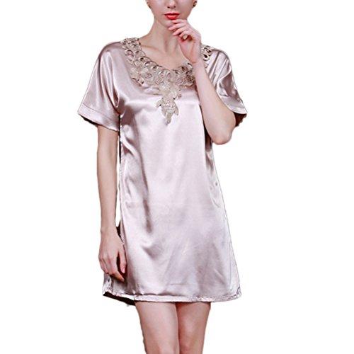 Zhhlaixing Sexy Women's Lingerie Soft Nightdress Silk Slip Nightgown Free size Camel