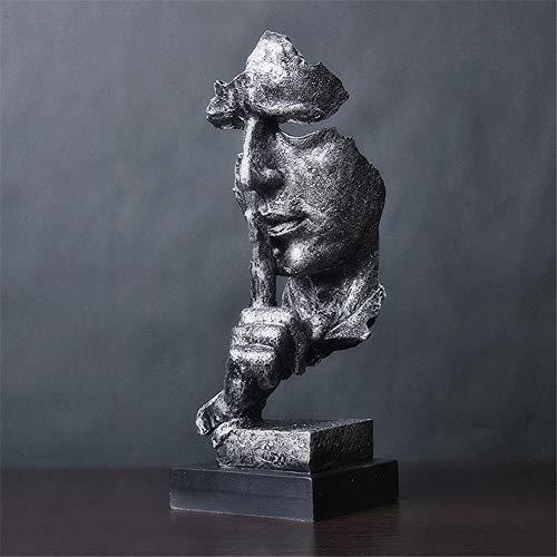 XJ&DS Schweigen ist Gold,Abstract Skulptur Statue,Einfache Hand gefertigt Kunst denkenden Menschen,Nordische Skulptur,Retro Office Wohnzimmer Dekorationen,Silber-G 13x12x34cm(5x5x13inch) (Abstract Bücherregal)